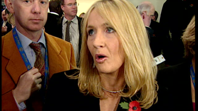 interior interview with j k rowling at the premiere of harry potter and the philosopher's stone on november 4 2001 in london england - j.k. rowling stock videos and b-roll footage