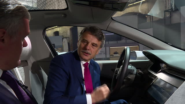 vídeos de stock, filmes e b-roll de interior interview with jaguar land rover chief executive dr ralf speth speaking about his concerns that vehicle sales are being affected by a slight... - veículo com combustível alternativo