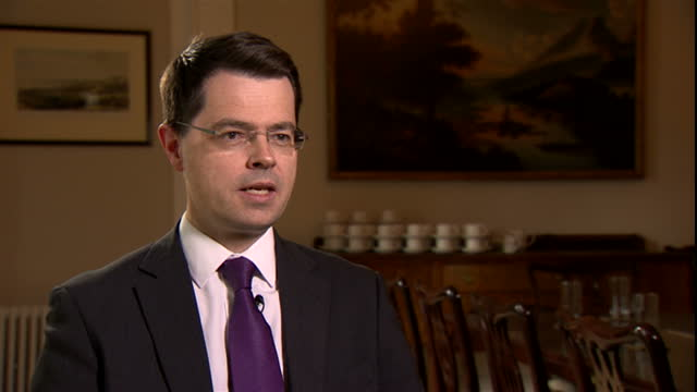 interior interview with james brokenshire mp secretary of state for northern ireland speaking about the death of martin mcguinness and his legacy in... - martin mcguinness stock videos and b-roll footage