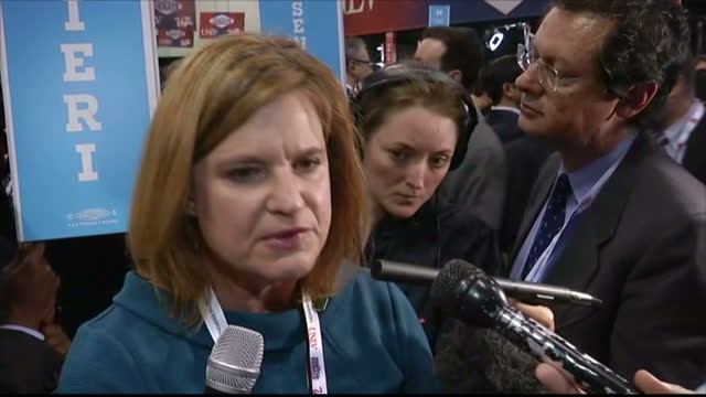 interior interview with jennifer palmieri, clinton campaign director of communications, speaking about how hillary clinton and donald trump fared in... - 2016 united states presidential election stock videos & royalty-free footage