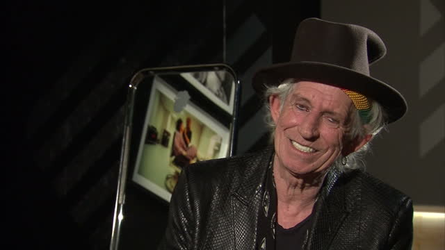 Interior interview with Keith Richards speaking about the Rolling Stones Exhibitionism experience at the Saatchi Gallery saying that the recreation...