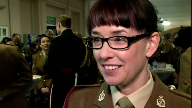 interior interview with lance-corporal victoria atherton about conditions whilst working in africa tackling ebola & about being given medal by prince... - aldershot stock videos & royalty-free footage