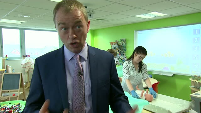 interior interview with liberal democrat leader tim farron whillst visiting kingston technical college and campaigning for the general election on... - technical college stock videos & royalty-free footage