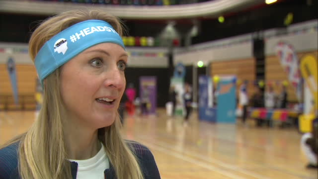 interior interview with long-distance runner paula radcliffe speaking about the importance of the heads together mental health campaign and how... - film negative stock videos & royalty-free footage
