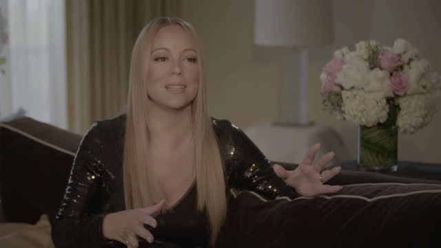 interior interview with mariah carey about her upcoming sweet sweet fantasy 2016 uk tour on january 30 2016 in los angeles california - mariah carey stock-videos und b-roll-filmmaterial