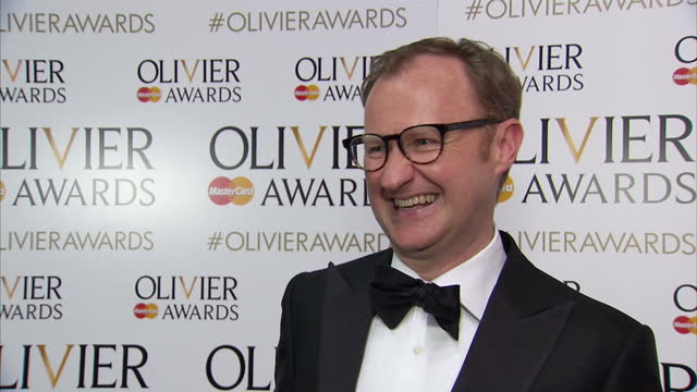interior interview with mark gatiss speaking about winning the olivier award for best actor in a supporting role having presented and nominated for... - best supporting actor stock videos & royalty-free footage