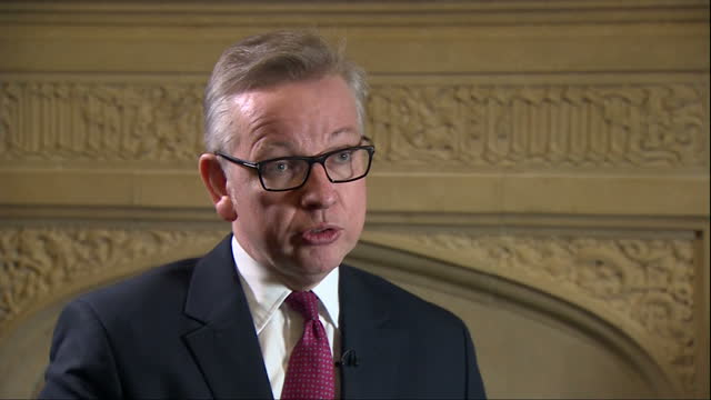 interior interview with michael gove justice secretary speaking about why he decided to announce his candidacy for leadership of the conservative... - michael gove stock-videos und b-roll-filmmaterial