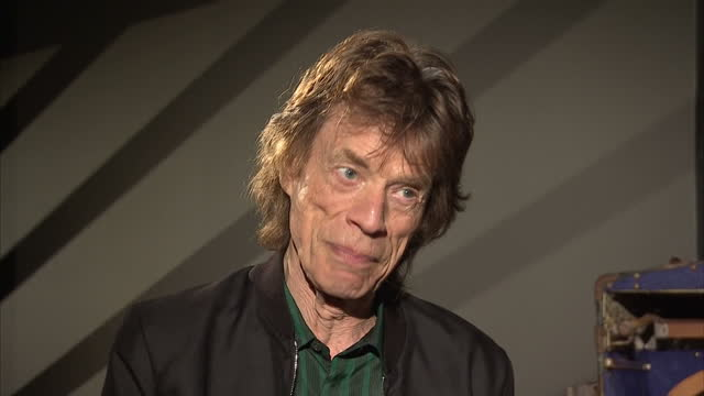Interior interview with Mick Jagger of the Rolling Stones speaking about the Exhibitionism experience at the Saatchi Gallery and how he had been...