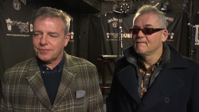 interior interview with mike barson and graham mcpherson aka suggs from the band madness, on the demise of live music venues in the uk on january 26,... - suggs musician stock videos & royalty-free footage