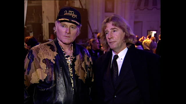 Interior interview with Mike Love and Rick Parfitt about Status Quo and The Beach Boys working together at the Brixton Academy on January 28 1996 in...