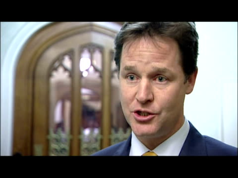 interior interview with nick clegg deputy prime minister supporting tuition fees clegg offers tuition fee support on december 07 2010 in london... - british liberal democratic party stock videos & royalty-free footage