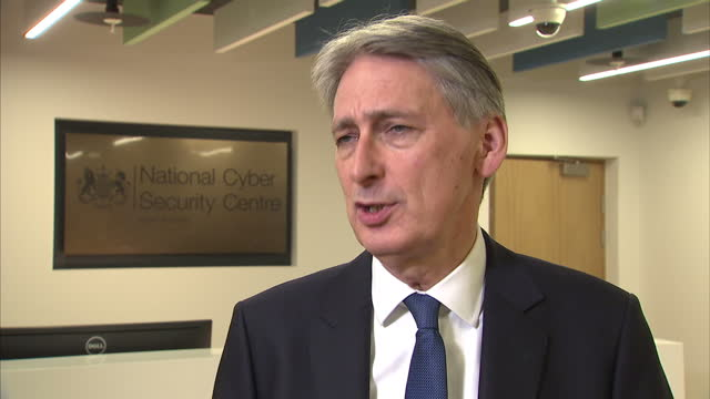 interior interview with philip hammond chancellor of the exchequer re why britain needs a national cyber security centre and inflation 14th february... - chancellor of the exchequer stock videos and b-roll footage