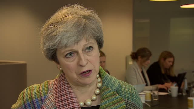 Interior interview with Prime Minister Theresa May Conservative Leader on cyber security attack scope of the attack in Oxfordshire England on Monday...