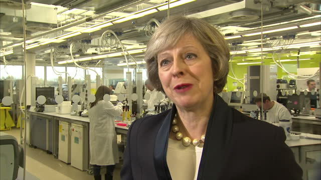 Interior interview with Prime Minister Theresa May speaking about visiting the Wellcome Genome Campus as part of a strategy to develop the UK as the...