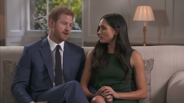 interior interview with prince harry and meghan markle on the day the couple announced their engagement to the world on 27 november 2017 in london... - prince harry stock videos & royalty-free footage