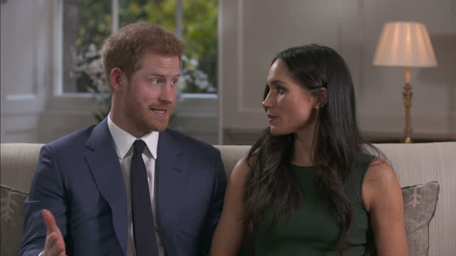 interior interview with prince harry and meghan markle on the day the couple announced their engagement to the world on 27 november 2017 in london... - befragung stock-videos und b-roll-filmmaterial