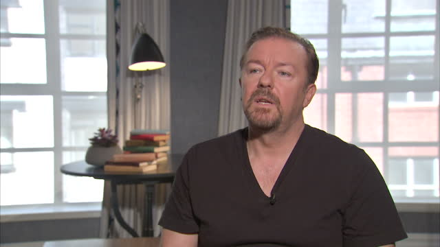 interior interview with ricky gervais speaking about his new film'david brent: life on the road' part nine on august 12, 2016 in london, england. - ricky gervais stock videos & royalty-free footage
