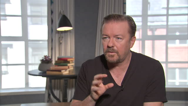interior interview with ricky gervais speaking about his new film'david brent: life on the road' part five on august 12, 2016 in london, england. - ricky gervais stock videos & royalty-free footage