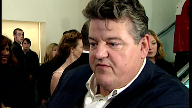 Interior Interview with Robbie Coltrane speaking at the premiere of Harry Potter and the Philosopher's Stone on November 4 2001 in London England