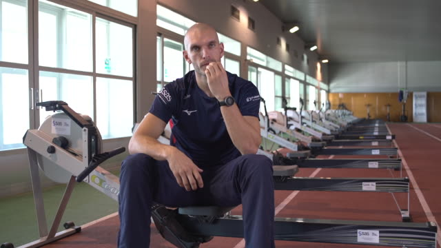interior interview with sbisi mohamed about team gb rowing in sierra nevada span on the 6th december 2019 - sport rowing stock videos & royalty-free footage