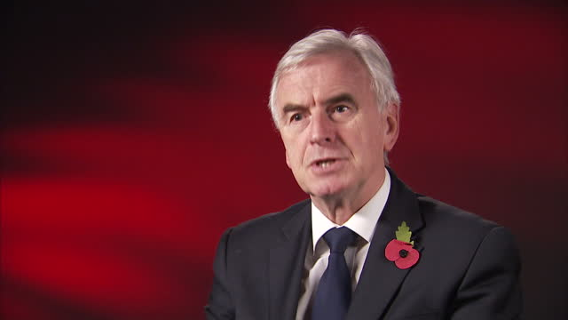 interior interview with shadow chancellor john mcdonnell speaking about his reaction to the bank of england's announcement that it is raising... - interest rate stock videos & royalty-free footage