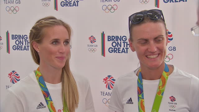 interior interview with team gb rowers and gold medal winners talking about spending so much time together as teammates and the pressure to retain... - helen glover rower stock videos and b-roll footage
