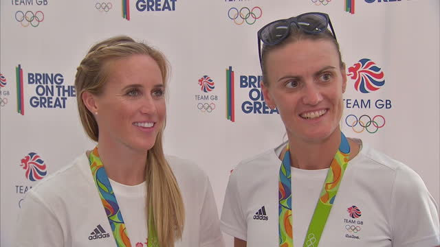 interior interview with team gb rowers and gold medal winners talking about the flight home from rio and being part of the greatest ever team gb on... - helen glover rower stock videos and b-roll footage