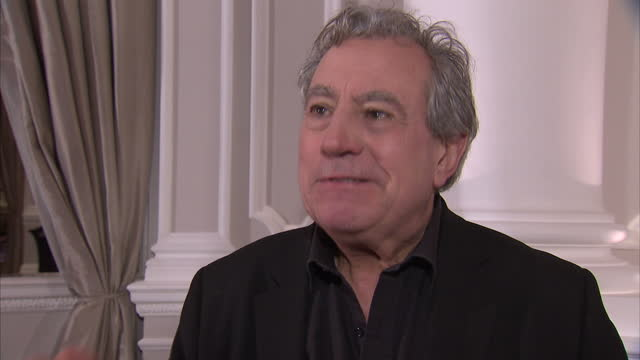 interior interview with terry jones on the monty python reunion monty python stars announce reunion stage show on november 21, 2013 in london, england - モンティ・パイソン点の映像素材/bロール