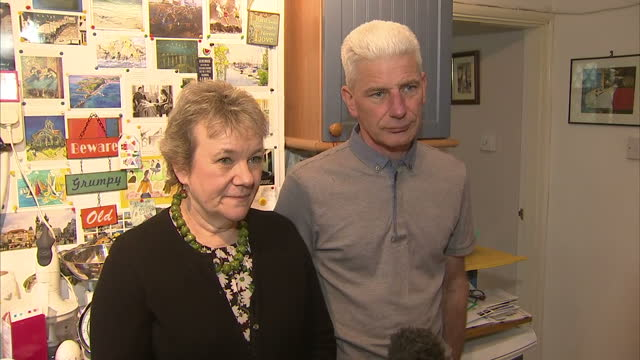 interior interview with the parents of jacob schilt killed in the shoreham airshow disaster on the release of the final report into the crash... - ショーハム・バイ・シー点の映像素材/bロール