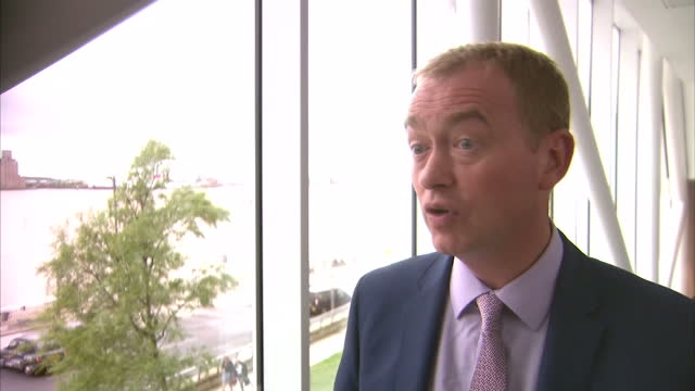 stockvideo's en b-roll-footage met interior interview with tim farron liberal democrats leader re nhs cyber security attack in southport england on monday 15th may 2017 - southport engeland