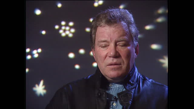 interior interview with william shatner, speaking about patrick stewart and the difference between characters captain picard and captain kirk in the... - william shatner stock videos & royalty-free footage