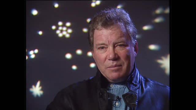 interior interview with william shatner, speaking about voyager, writing novels and inventing stories that are entertaining after characters die on... - william shatner stock videos & royalty-free footage