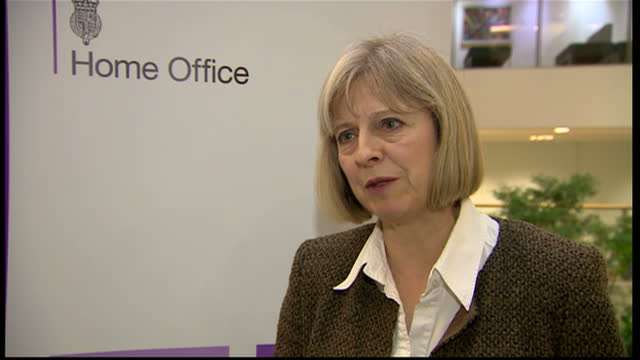interior interview withhome secretary theresa may speaking about the murder of fusilier lee rigby by michael adebolajo and michael adebowale paying... - lee rigby stock videos & royalty-free footage