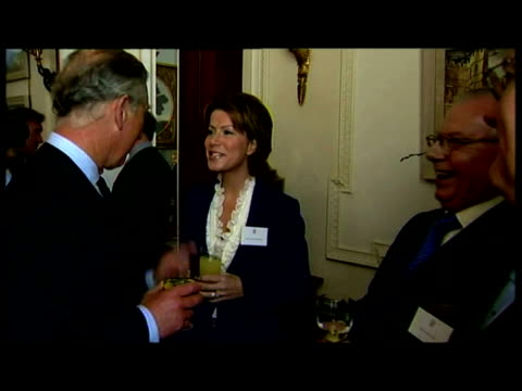 vídeos de stock e filmes b-roll de interior mcu shots prince charles camilla duchess of cornwall talking mingling with various guests at royal television society 80th anniversary... - 2007