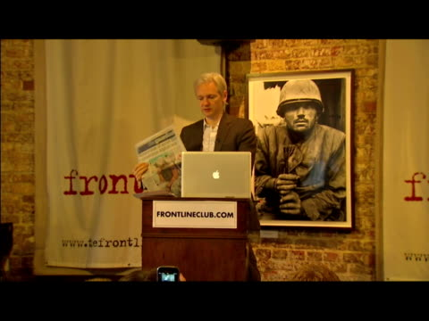 interior news conference with julian assange wikileaks founder talking about the publication of restricted files relating to the afghanistan war... - 2010 video stock e b–roll