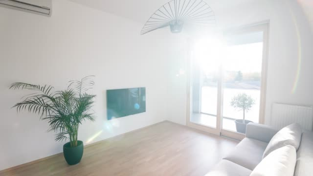 interior of a contemporary apartment - brightly lit video stock e b–roll