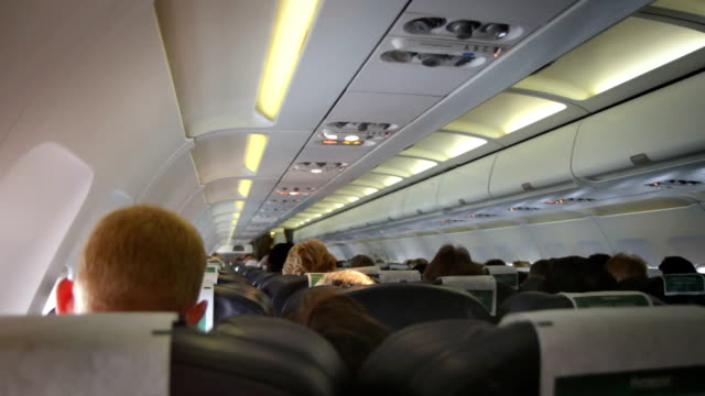 Interior of a crowded Aeroplane. HD, NTSC, PAL