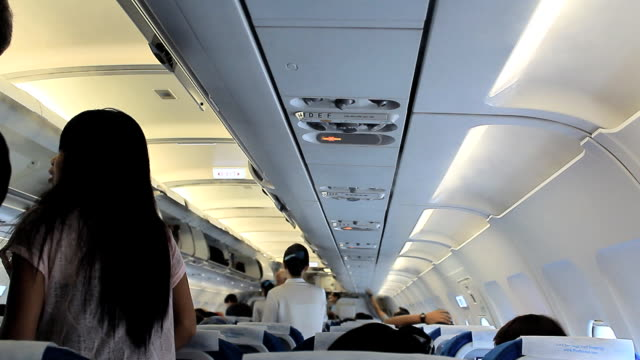 Interior of a crowded Aeroplane
