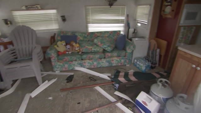 interior of a damaged trailer home in the aftermath of hurricane dorian at a trailer park in emerald isle, north carolina. - 2010 2019 stock videos & royalty-free footage