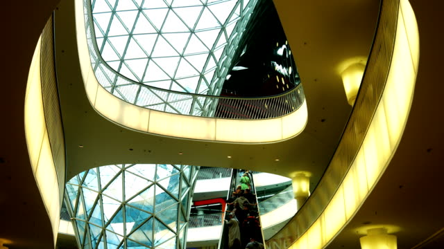 Interior Of A Futuristic Shopping Mall (4K/UHD to HD)