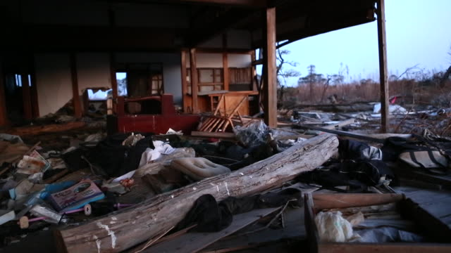 Interior of a house wrecked by Tsunami in Japan