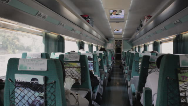 WS Interior of a KTX high-speed train travelling at 300km/hr through the countryside / Gyeonggi-do, South Korea
