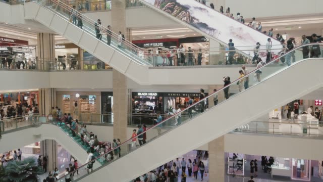 stockvideo's en b-roll-footage met interior of a shopping mall,xi'an,china. - doorsnede