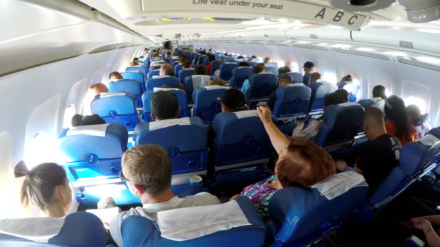 interior of aircraft / vladivostok, russia - air vehicle stock videos & royalty-free footage