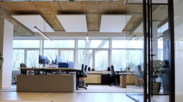 interior of an empty modern loft office open space - loft apartment stock videos & royalty-free footage