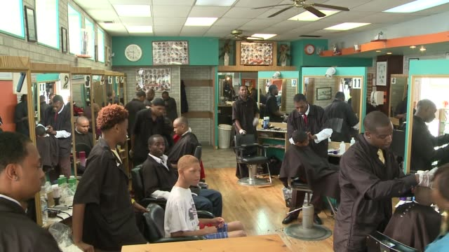 interior of barber shop on august 24 2013 in chicago illinois - barber shop stock videos and b-roll footage