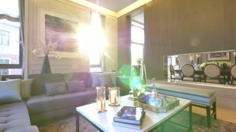interior of big living room   4k - luxury stock videos & royalty-free footage