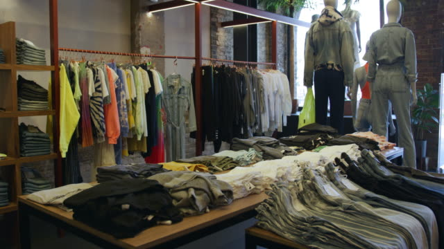 interior of boutique - clothing store stock videos & royalty-free footage