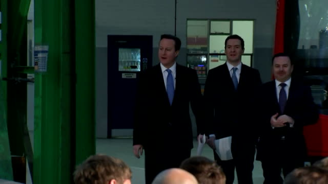 interior of british prime minister david cameron and chancellor george osborne arriving to speech on february 12, 2015 in derby, england. - george osborne stock videos & royalty-free footage
