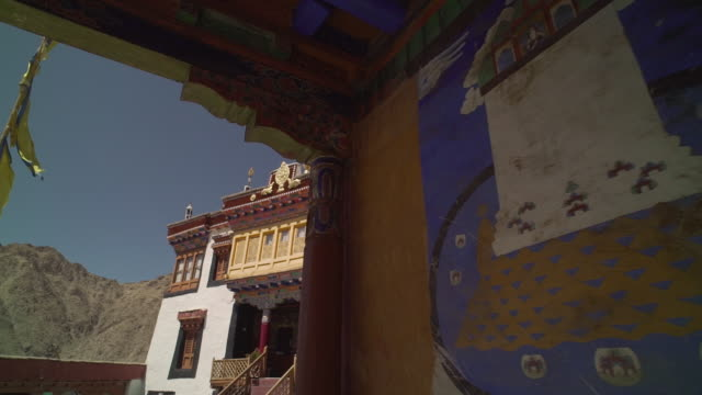 w/s interior of buddhist monastery, ladakh, india - monastery stock videos & royalty-free footage